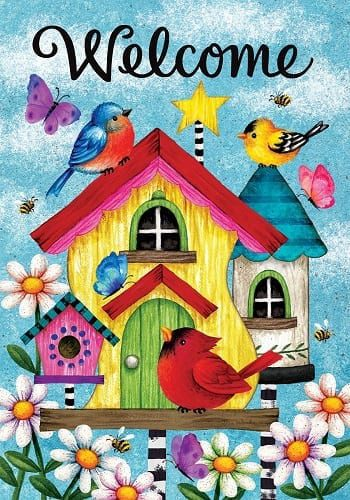 Whimsy Birdhouses Flag | Decorative Flags | Flags | Garden House Flags