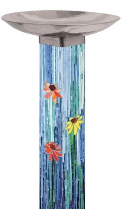Mosaic Watercolor Birdbath | Bird Baths | Art Poles | Garden House Flags