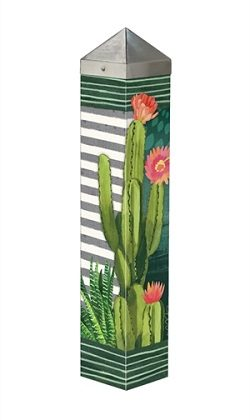 Night Cactus Art Pole | Art Poles | Garden Decor | Peace Poles | Yard Pole