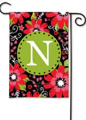 Bright Floral Monogram N Garden Flag | Decorative Flags | Garden House Flags