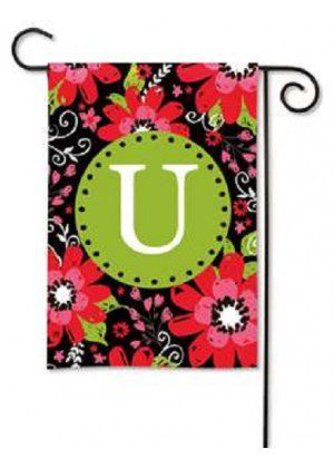 Bright Floral Monogram U Garden Flag | Decorative Flags | Garden House Flags
