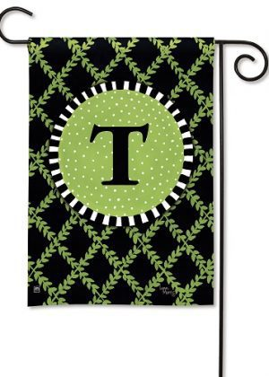 Garden Trellis Monogram T Garden Flag | Decorative Flags | Garden House Flags