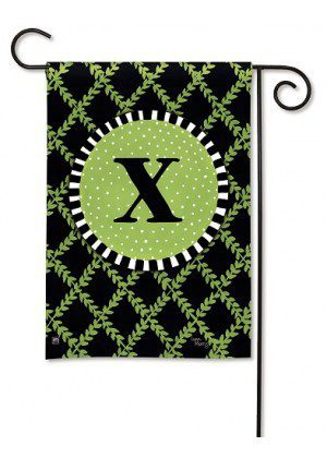 Garden Trellis Monogram X Garden Flag | Monogram Flags | Yard Flags