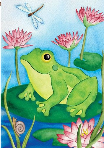 Lotus Frog House Flag | Garden Flag | House Flags | Garden House Flags