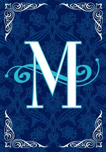 Monogram Blue Teal Flags
