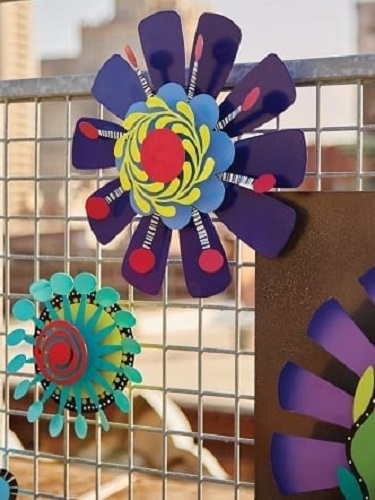 Purple Flower with Red Dots Kinetic Art | Garden Decor | Garden House Flags