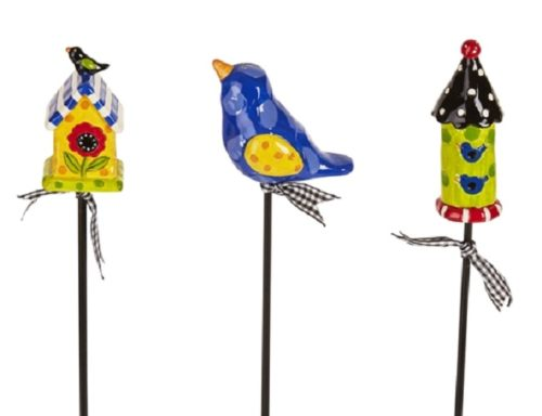 Birdhouse Party Plant Pokes | Stakes | Plant Stakes | Garden House Flags