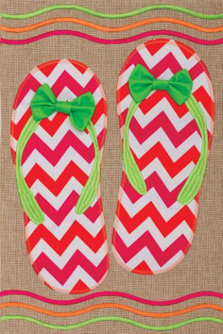 Chevron Flip Flops Flag | Burlap Flag | Summer Flag | Double Sided Flags