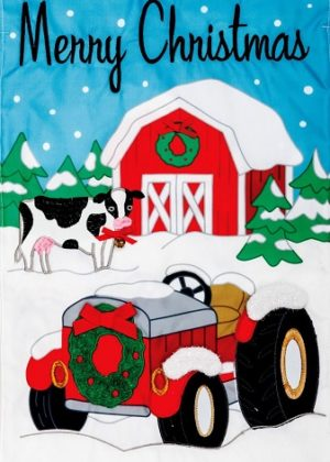 Christmas Tractor Applique Flag | Applique Flags | Christmas Flags | Flags