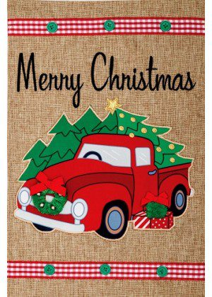 Christmas Truck Burlap Flag | Burlap Flags | Christmas Flags | Cool Flags