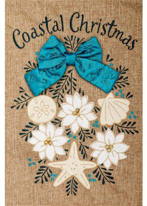 Coastal Christmas Burlap Flag | Burlap Flags | Christmas Flags | Cool Flag