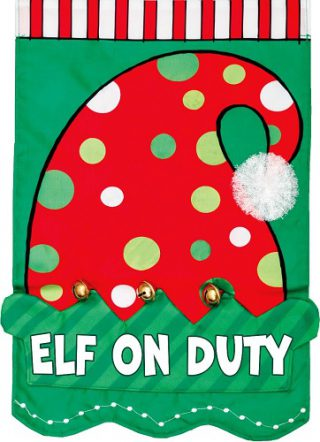 Elf on Duty Applique Flag | Applique Flags | Christmas Flags | Cool Flags