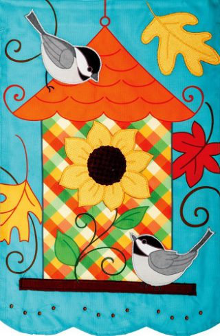 Fall Birdhouse Applique Flag | Applique Flags | Fall Flags | Bird Flags | Flag