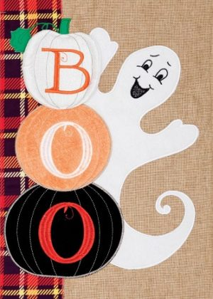 Ghost Stack Burlap Flag | Halloween Flags | Burlap Flags | Two-sided Flag