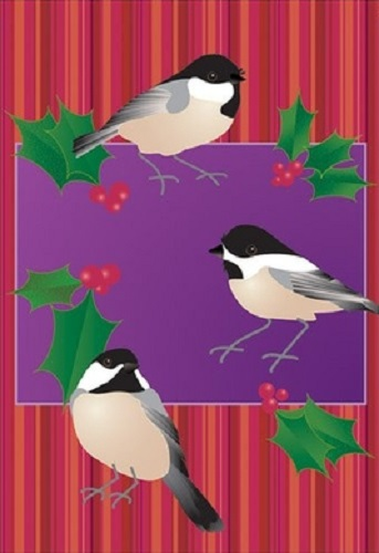 Holiday Chickadees Flag | Decorative House Flags | Garden House Flags