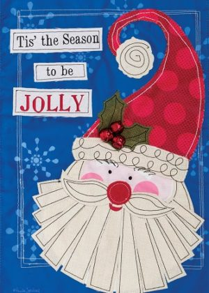 Jolly Santa Applique Flag | Applique Flags | Christmas Flags | Holiday Flag