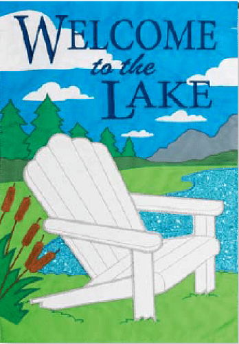 Lake Welcome Applique Flag | Applique Flags | Flag | Garden House Flags