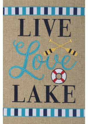 Live Love Lake Flag   Burlap Flags   Inspirational Flags   Cool Flags   Flags