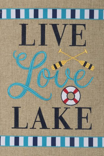 Live Love Lake Burlap Flag | Burlap Flags | Flags | Garden House Flags