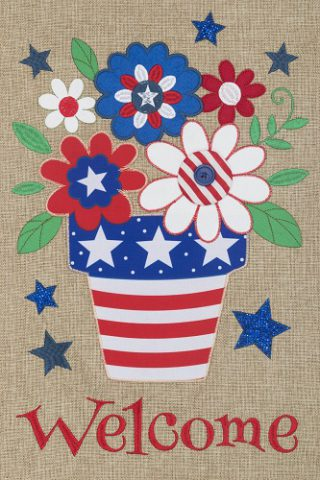 Patriotic Flowers Burlap Flag | 4th of July Flag | Patriotic Flag | Burlap Flag