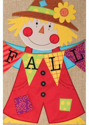 Scarecrow Burlap Flag | Burlap Flags | Fall Flags | Double Sided Flags