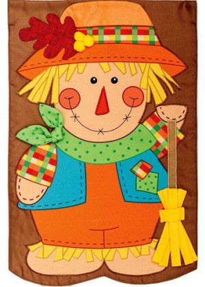 Scarecrow with Broom Flag | Applique Flags | Fall Flag | Double Sided Flag