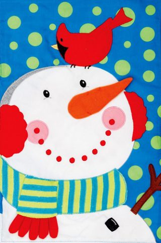 Snowman Cardinal Flag | Applique Flags | Winter Flags | Snowman Flags