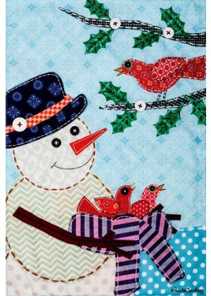 Snowman with Nest Flag | Applique Flags | Winter Flags | Snowman Flags