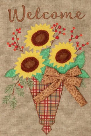 Sunflower Cone Burlap Flag | Burlap Flags | Welcome Flags | Fall Flags
