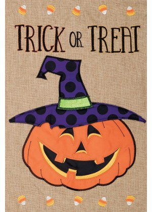 Trick or Treat Jack Burlap Flag | Halloween Flags | Burlap Flags | Flags