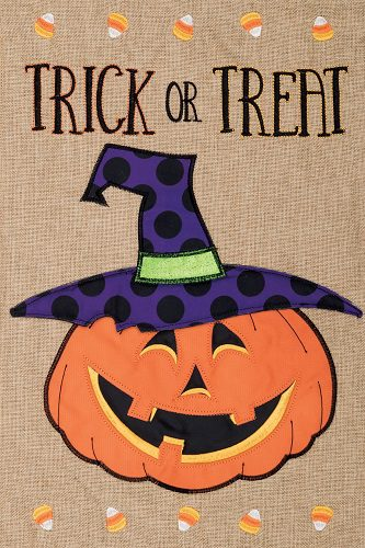 Trick or Treat Jack Burlap Flag | Burlap Flags | Flags | Garden House Flags
