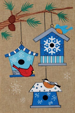 Winter Birdhouses Flag | Burlap Flags | Bird Flags | Two Sided Flags