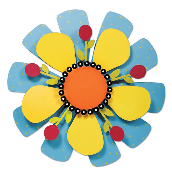 Yellow Flower on Blue Kinetic Art | Garden Decor | Garden House Flags