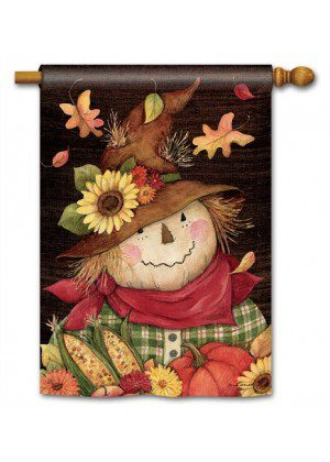 Autumn Scarecrow House Flag | Fall Flag | Floral Flag | Thanksgiving Flag