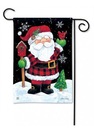 Buffalo Check Santa Garden Flag | Christmas Flags | Flags | Holiday Flags