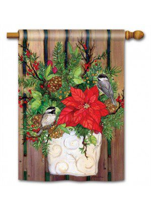 Chickadee Greeters House Flag | Chriistmas Flag | Bird Flag | Winter Flags