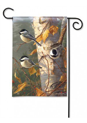 Chickadee Trio Garden Flag | Fall Flags | Bird Flags | Wildlife Flags | Flags
