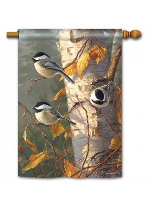 Chickadee Trio House Flag | Fall Flags | Bird Flags | Yard Flags | Cool Flag