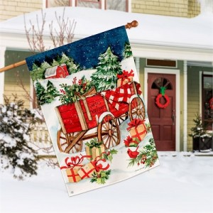 Christmas Farm Wagon House Flag | Christmas Flag | Garden House Flag