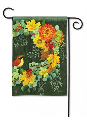 Fall Wreath Garden Flag | Fall Flags | Floral Flags | Bird Flags | Cool Flags