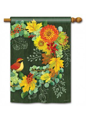 Fall Wreath House Flag | Fall Flags | Floral Flags | Bird Flags | Yard Flags