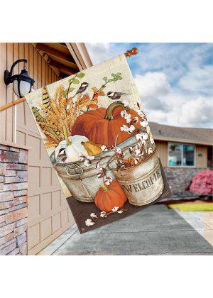 Farmhouse Pumpkins House Flag | Fall Flag | Flags | Garden House Flags