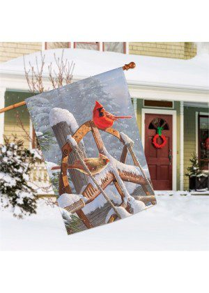 Fresh Snow House Flag | Winter Flags | Bird Flags | Garden House Flags