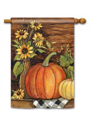 Harvest Gathering House Flag | Thanksgiving Flags | Fall Flag | Floral Flag
