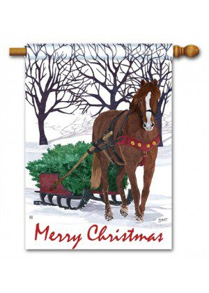 Horse Drawn Sled House Flag | Christmas Flags | Yardy Flags | Cool Flags