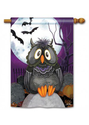 Moonlight Owl House Flag | Halloween Flags | Holiday Flags | Fall Flags