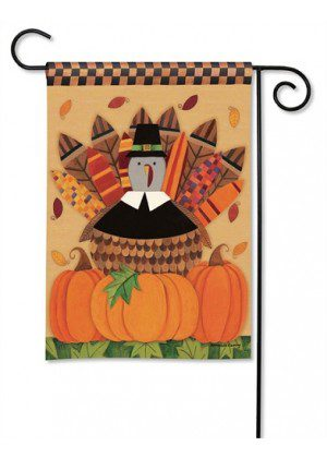 Pilgrim Turkey Garden Flag | Thanksgiving Flags | Holiday Flag | Yard Flag