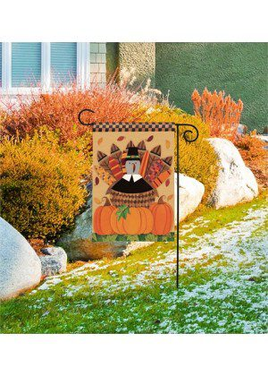 Pilgrim Turkey Garden Flag | Thanksgiving Flags | Garden House Flags