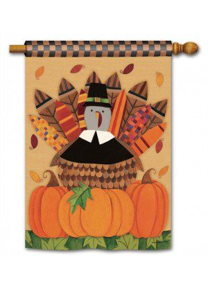 Pilgrim Turkey House Flag | Thanksgiving Flags | Yard Flags | Cool Flags