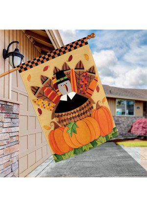 Pilgrim Turkey House Flag | Thanksgiving Flags | Garden House Flags